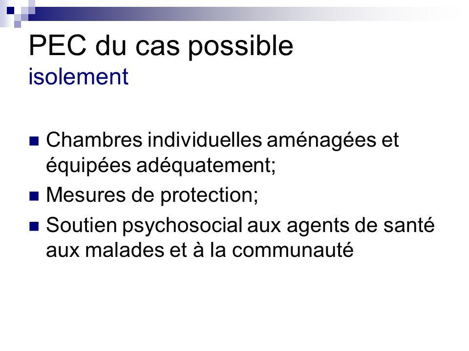 PEC du cas possible isolement Chambres individuelles aménagées et équipées adéquatement; Mesures de protection; Soutien psychosocial aux agents de san