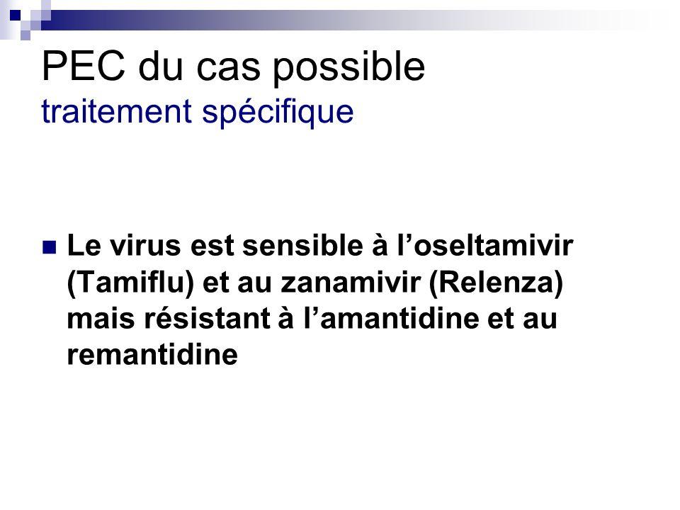 PEC du cas possible traitement spécifique Le virus est sensible à loseltamivir (Tamiflu) et au zanamivir (Relenza) mais résistant à lamantidine et au