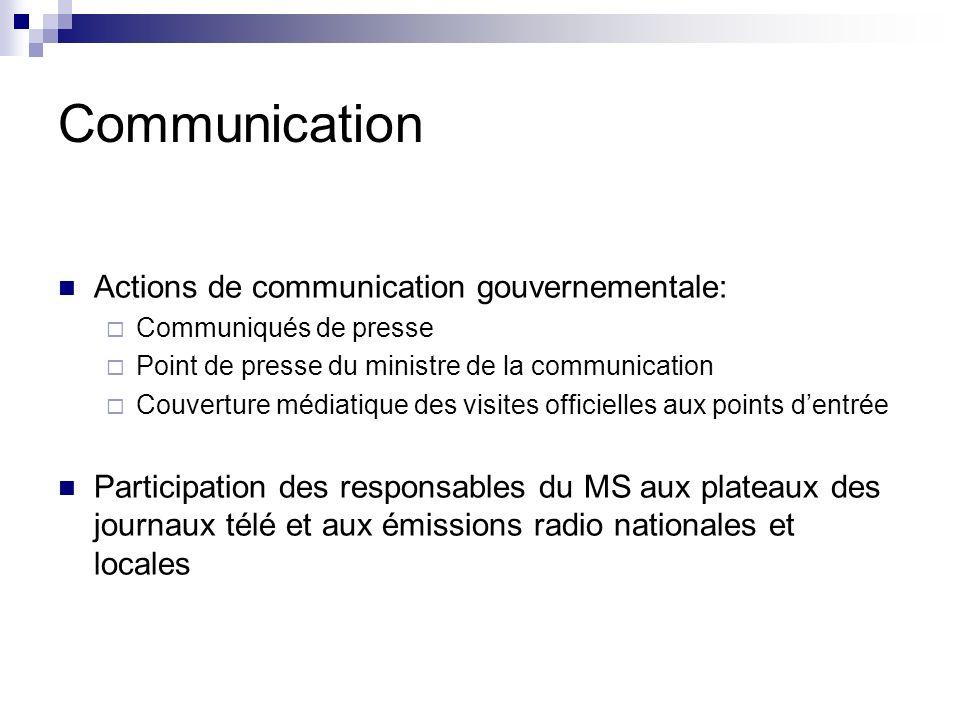 Communication Actions de communication gouvernementale: Communiqués de presse Point de presse du ministre de la communication Couverture médiatique de
