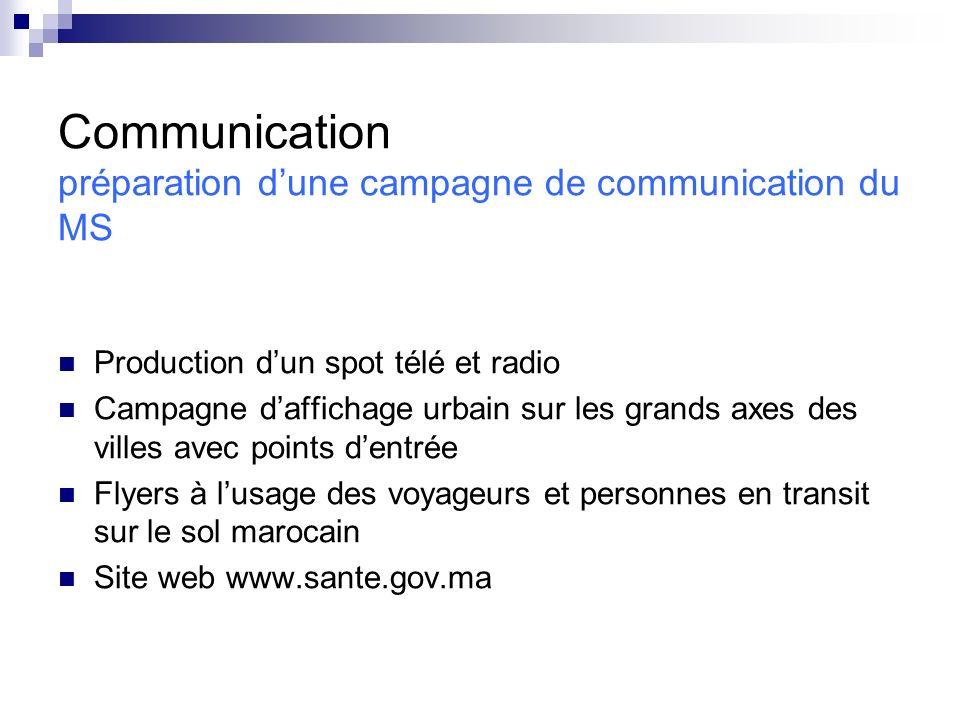 Communication préparation dune campagne de communication du MS Production dun spot télé et radio Campagne daffichage urbain sur les grands axes des vi