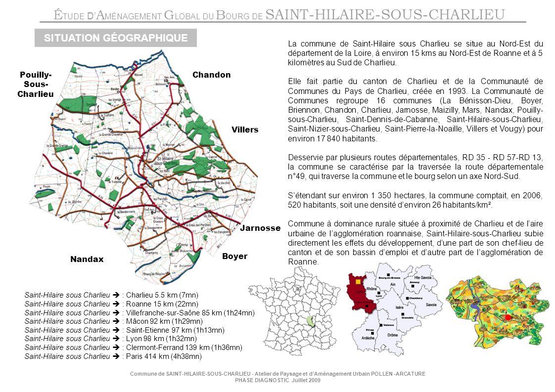 É TUDE D A MÉNAGEMENT G LOBAL DU B OURG DE SAINT-HILAIRE-SOUS-CHARLIEU Commune de SAINT-HILAIRE-SOUS-CHARLIEU - Atelier de Paysage et dAménagement Urbain POLLEN -ARCATURE PHASE DIAGNOSTIC Juillet 2009 SITUATION GÉOGRAPHIQUE Saint-Hilaire sous Charlieu : Charlieu 5.5 km (7mn) Saint-Hilaire sous Charlieu : Roanne 15 km (22mn) Saint-Hilaire sous Charlieu : Villefranche-sur-Saône 85 km (1h24mn) Saint-Hilaire sous Charlieu : Mâcon 92 km (1h29mn) Saint-Hilaire sous Charlieu : Saint-Etienne 97 km (1h13mn) Saint-Hilaire sous Charlieu : Lyon 98 km (1h32mn) Saint-Hilaire sous Charlieu : Clermont-Ferrand 139 km (1h36mn) Saint-Hilaire sous Charlieu : Paris 414 km (4h38mn) La commune de Saint-Hilaire sous Charlieu se situe au Nord-Est du département de la Loire, à environ 15 kms au Nord-Est de Roanne et à 5 kilomètres au Sud de Charlieu.