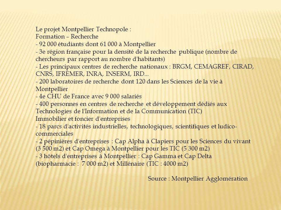 Le projet Montpellier Technopole : Formation – Recherche - 92 000 étudiants dont 61 000 à Montpellier - 3e région française pour la densité de la rech