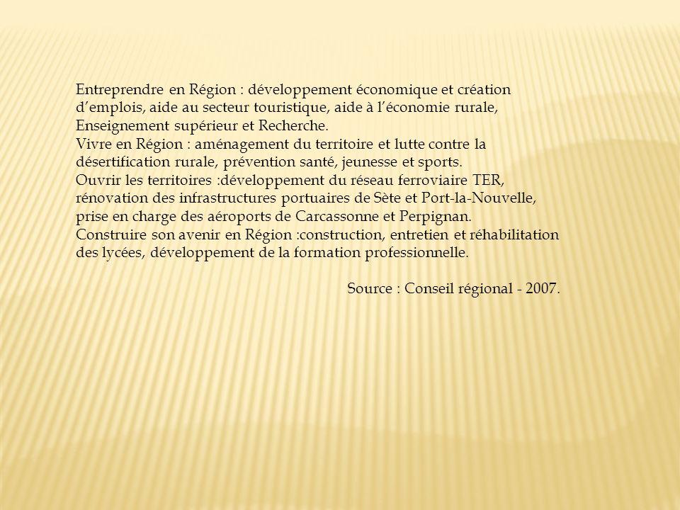 Entreprendre en Région : développement économique et création demplois, aide au secteur touristique, aide à léconomie rurale, Enseignement supérieur e
