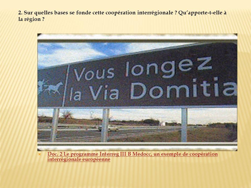 Doc. 2 Le programme Interreg III B Medocc, un exemple de coopération interrégionale européenne Doc. 2 Le programme Interreg III B Medocc, un exemple d