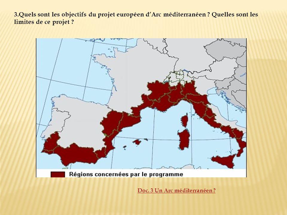 3.Quels sont les objectifs du projet européen dArc méditerranéen ? Quelles sont les limites de ce projet ? Doc. 3 Un Arc méditerranéen ?