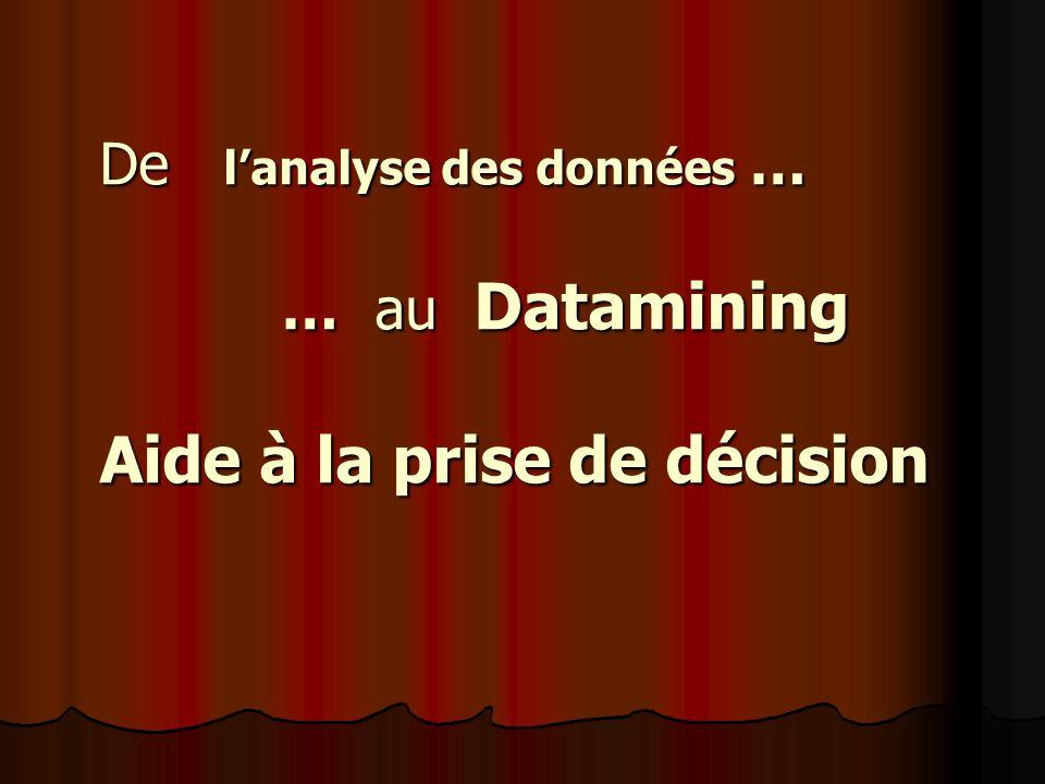 De lanalyse des données … … au Datamining Aide à la prise de décision