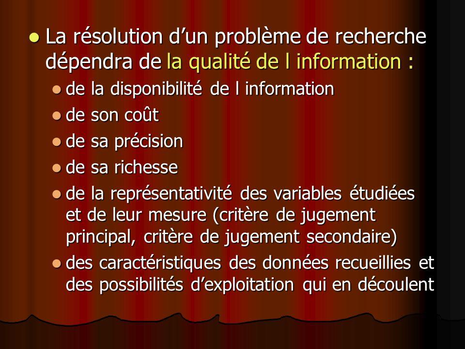 La résolution dun problème de recherche dépendra de la qualité de l information : La résolution dun problème de recherche dépendra de la qualité de l information : de la disponibilité de l information de la disponibilité de l information de son coût de son coût de sa précision de sa précision de sa richesse de sa richesse de la représentativité des variables étudiées et de leur mesure (critère de jugement principal, critère de jugement secondaire) de la représentativité des variables étudiées et de leur mesure (critère de jugement principal, critère de jugement secondaire) des caractéristiques des données recueillies et des possibilités dexploitation qui en découlent des caractéristiques des données recueillies et des possibilités dexploitation qui en découlent