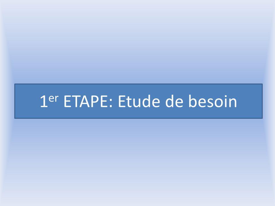 1 er ETAPE: Etude de besoin