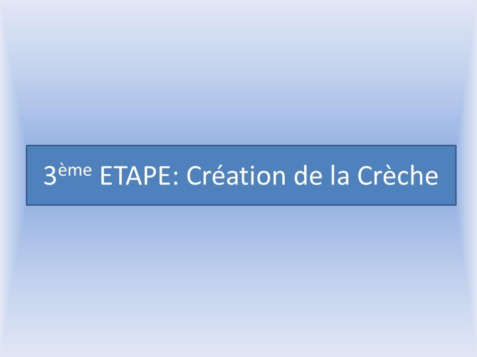 3 ème ETAPE: Création de la Crèche