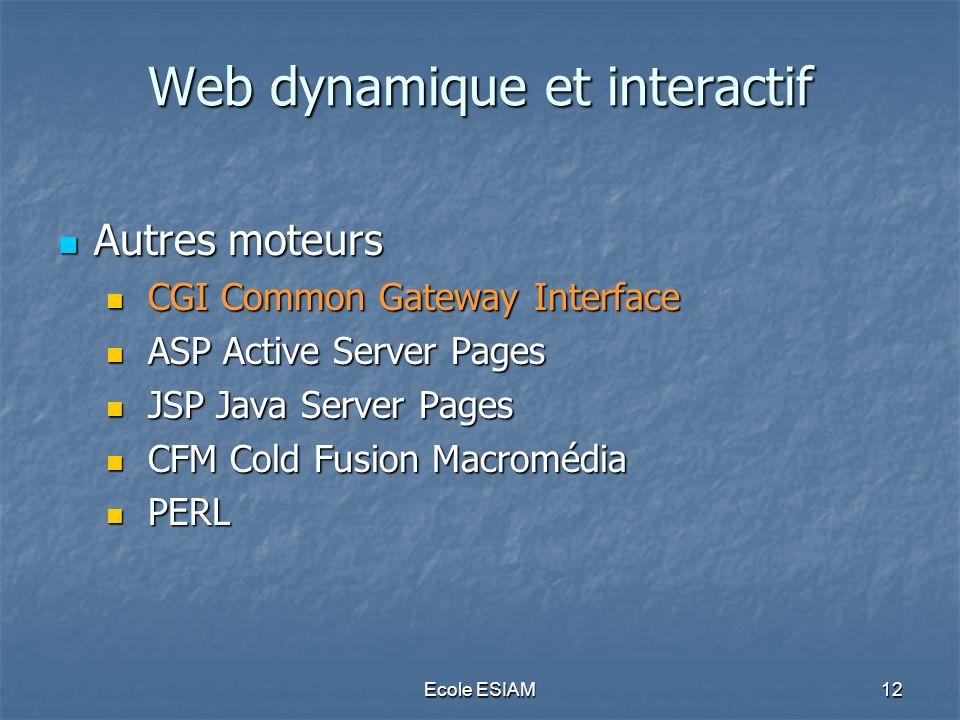Ecole ESIAM12 Web dynamique et interactif Autres moteurs Autres moteurs CGI Common Gateway Interface CGI Common Gateway Interface ASP Active Server Pa