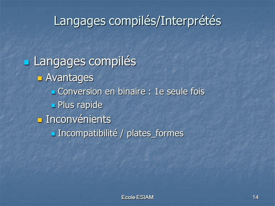 Ecole ESIAM14 Langages compilés/Interprétés Langages compilés/Interprétés Langages compilés Langages compilés Avantages Avantages Conversion en binair