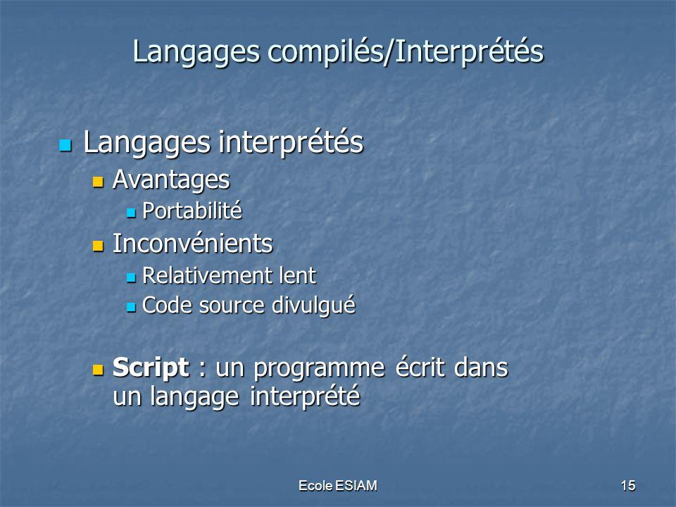 Ecole ESIAM15 Langages compilés/Interprétés Langages compilés/Interprétés Langages interprétés Langages interprétés Avantages Avantages Portabilité Po