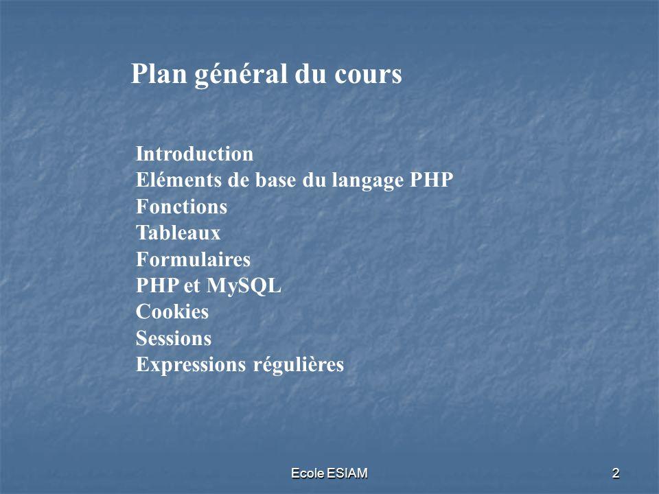 Ecole ESIAM2 Introduction Eléments de base du langage PHP Fonctions Tableaux Formulaires PHP et MySQL Cookies Sessions Expressions régulières Plan gén