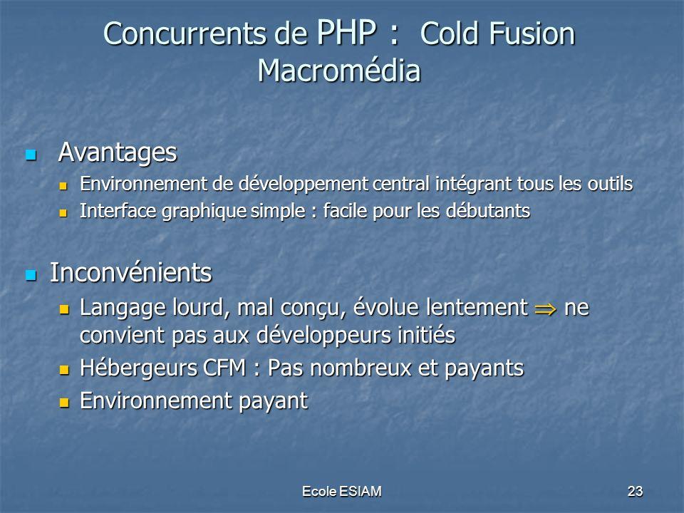 Ecole ESIAM23 Concurrents de PHP : Cold Fusion Macromédia Avantages Avantages Environnement de développement central intégrant tous les outils Environ