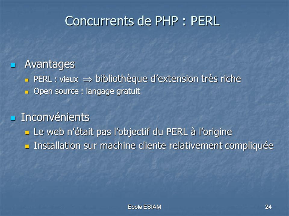 Ecole ESIAM24 Concurrents de PHP : PERL Avantages Avantages PERL : vieux bibliothèque dextension très riche PERL : vieux bibliothèque dextension très