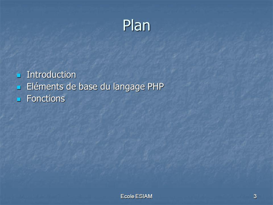 Ecole ESIAM64 Fonctions Modes de passage des paramètres Modes de passage des paramètres Par valeur Par valeur Par référence Par référence Par référence ponctuelle Par référence ponctuelle
