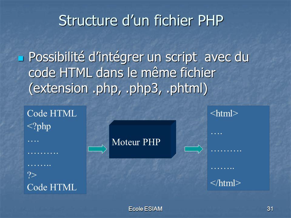 Ecole ESIAM31 Structure dun fichier PHP Possibilité dintégrer un script avec du code HTML dans le même fichier (extension.php,.php3,.phtml) Possibilit