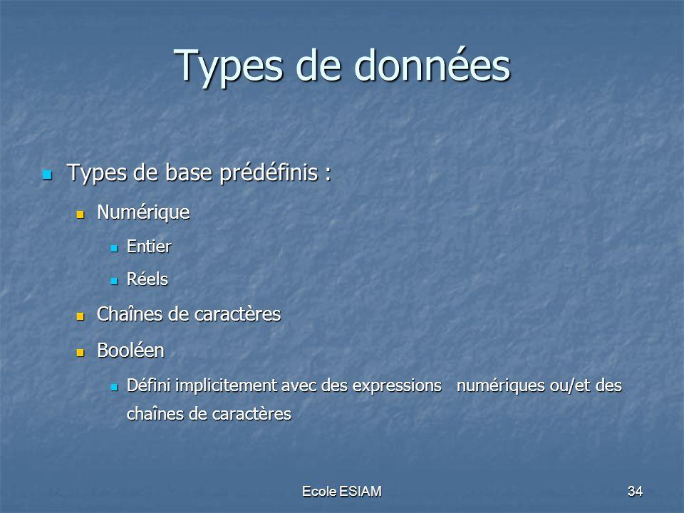 Ecole ESIAM34 Types de données Types de base prédéfinis : Types de base prédéfinis : Numérique Numérique Entier Entier Réels Réels Chaînes de caractèr