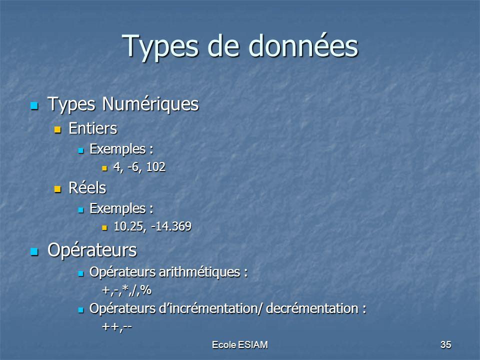 Ecole ESIAM35 Types de données Types Numériques Types Numériques Entiers Entiers Exemples : Exemples : 4, -6, 102 4, -6, 102 Réels Réels Exemples : Ex