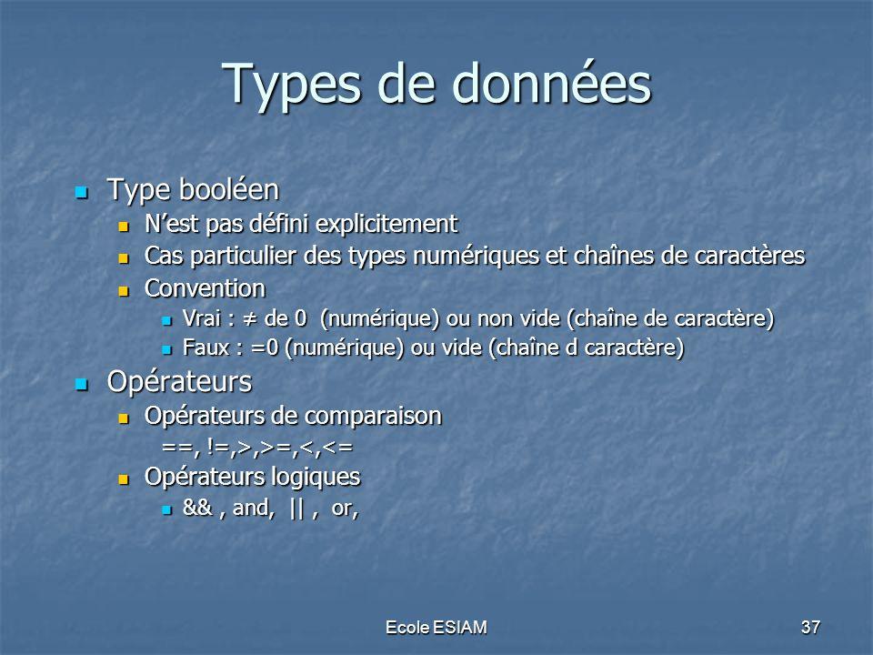 Ecole ESIAM37 Types de données Type booléen Type booléen Nest pas défini explicitement Nest pas défini explicitement Cas particulier des types numériq
