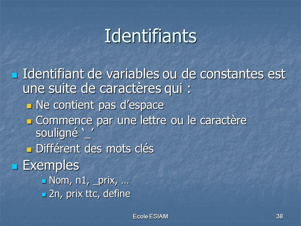 Ecole ESIAM38 Identifiants Identifiant de variables ou de constantes est une suite de caractères qui : Identifiant de variables ou de constantes est u