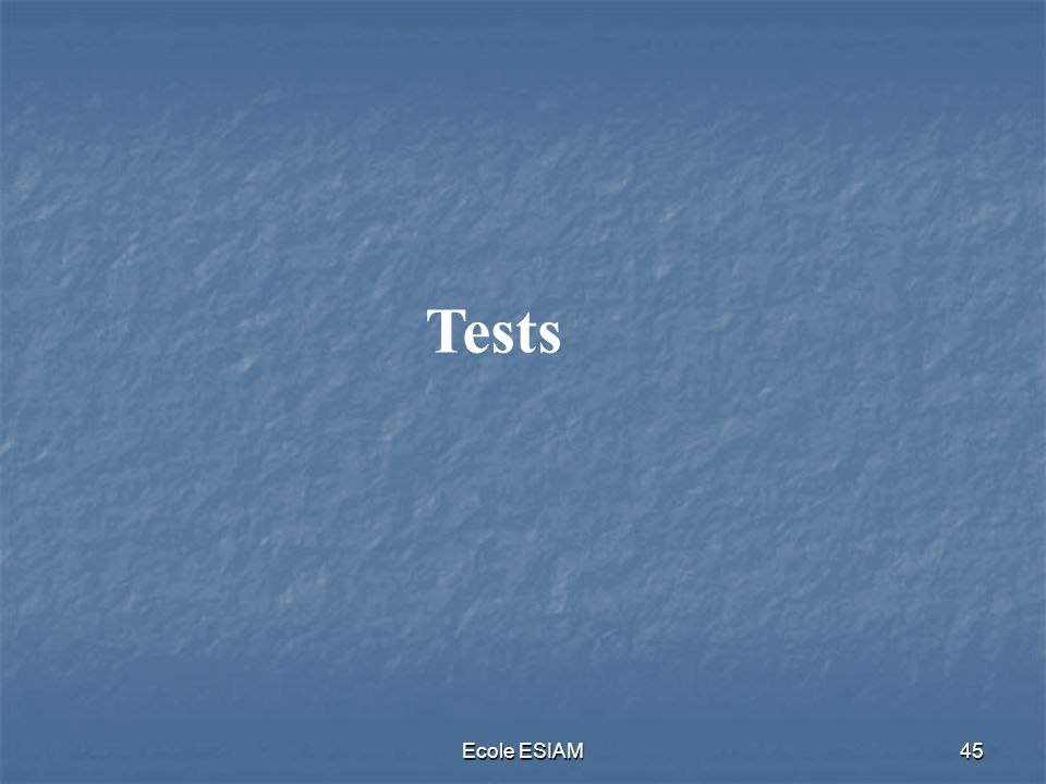 Ecole ESIAM45 Tests