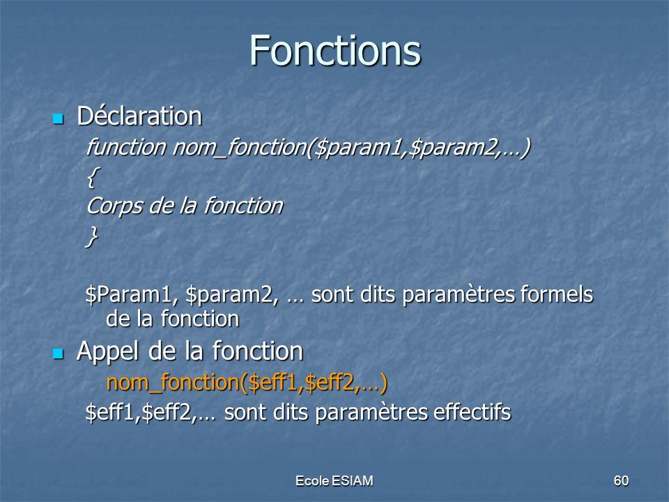 Ecole ESIAM60 Fonctions Déclaration Déclaration function nom_fonction($param1,$param2,…) { Corps de la fonction } $Param1, $param2, … sont dits paramè