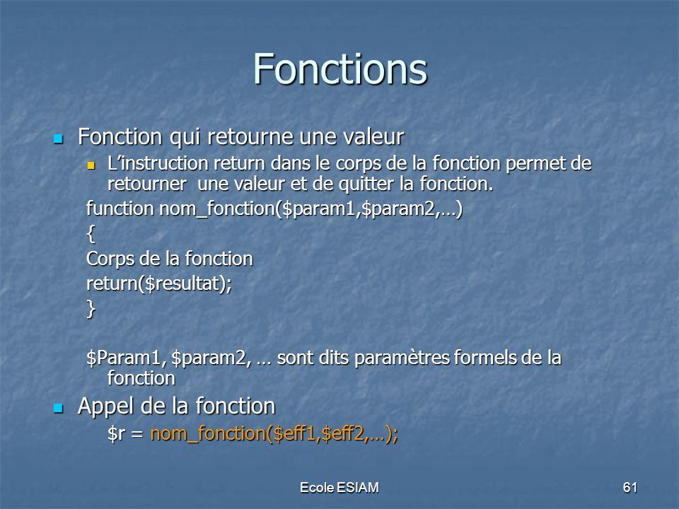 Ecole ESIAM61 Fonctions Fonction qui retourne une valeur Fonction qui retourne une valeur Linstruction return dans le corps de la fonction permet de r
