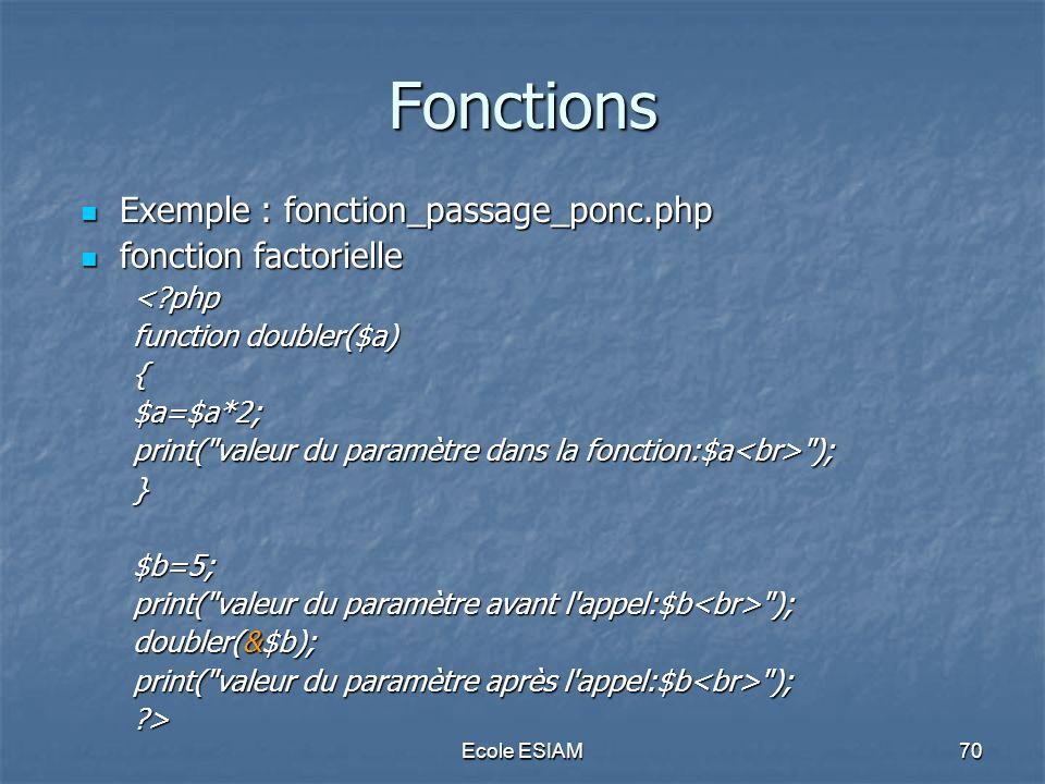 Ecole ESIAM70 Fonctions Exemple : fonction_passage_ponc.php Exemple : fonction_passage_ponc.php fonction factorielle fonction factorielle<?php functio
