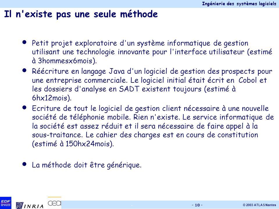Ingénierie des systèmes logiciels © 2003 ATLAS Nantes. - 10 - Il n'existe pas une seule méthode Petit projet exploratoire d'un système informatique de
