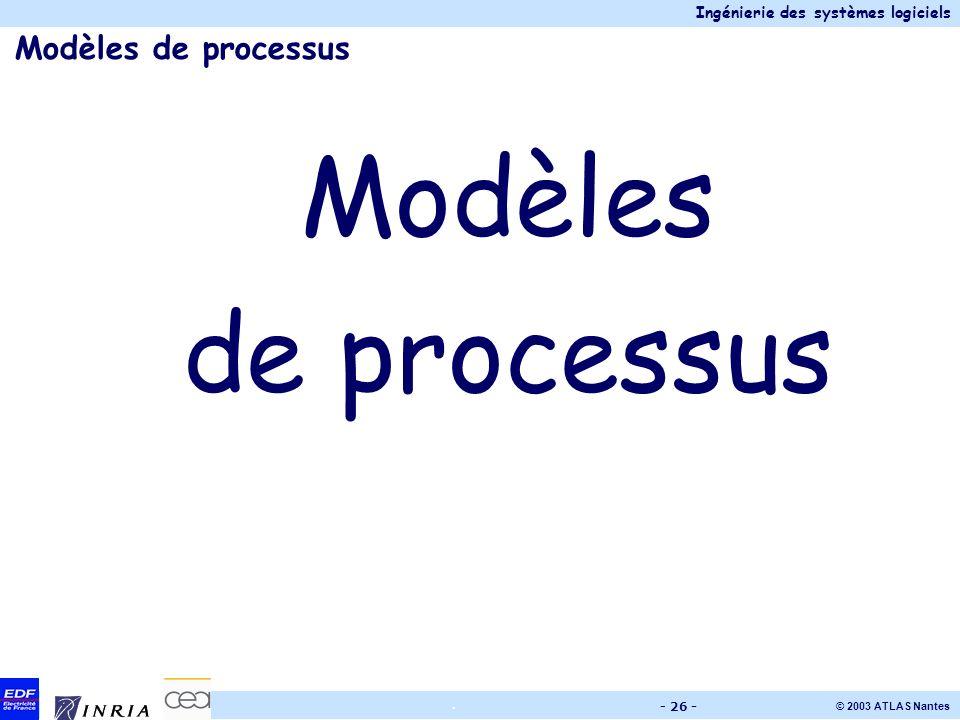 Ingénierie des systèmes logiciels © 2003 ATLAS Nantes. - 26 - Modèles de processus Modèles de processus
