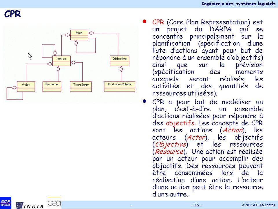 Ingénierie des systèmes logiciels © 2003 ATLAS Nantes. - 35 - CPR CPR (Core Plan Representation) est un projet du DARPA qui se concentre principalemen