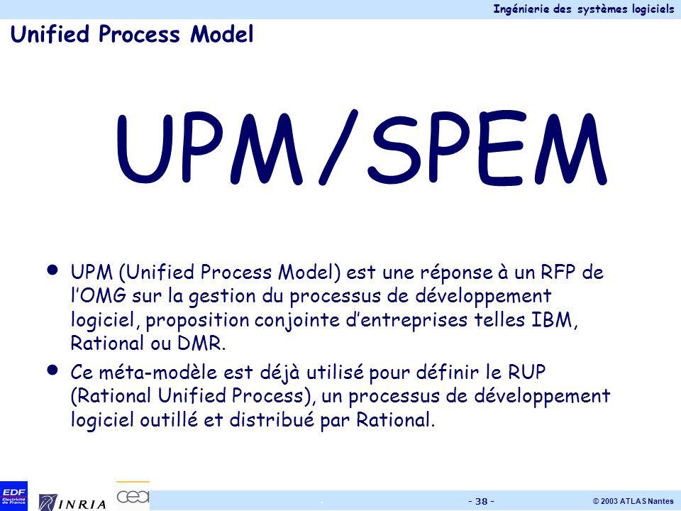 Ingénierie des systèmes logiciels © 2003 ATLAS Nantes. - 38 - Unified Process Model UPM/SPEM UPM (Unified Process Model) est une réponse à un RFP de l