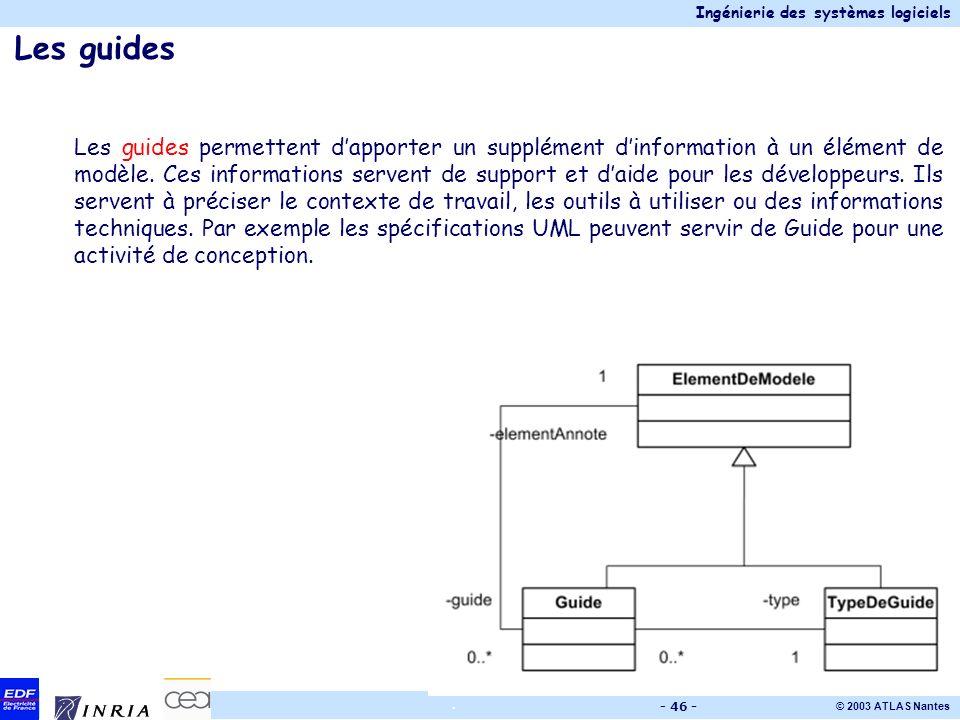 Ingénierie des systèmes logiciels © 2003 ATLAS Nantes. - 46 - Les guides Les guides permettent dapporter un supplément dinformation à un élément de mo