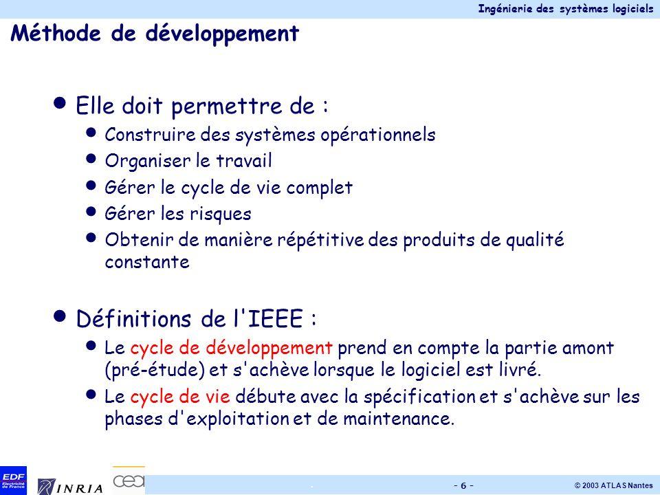Ingénierie des systèmes logiciels © 2003 ATLAS Nantes. - 6 - Méthode de développement Elle doit permettre de : Construire des systèmes opérationnels O