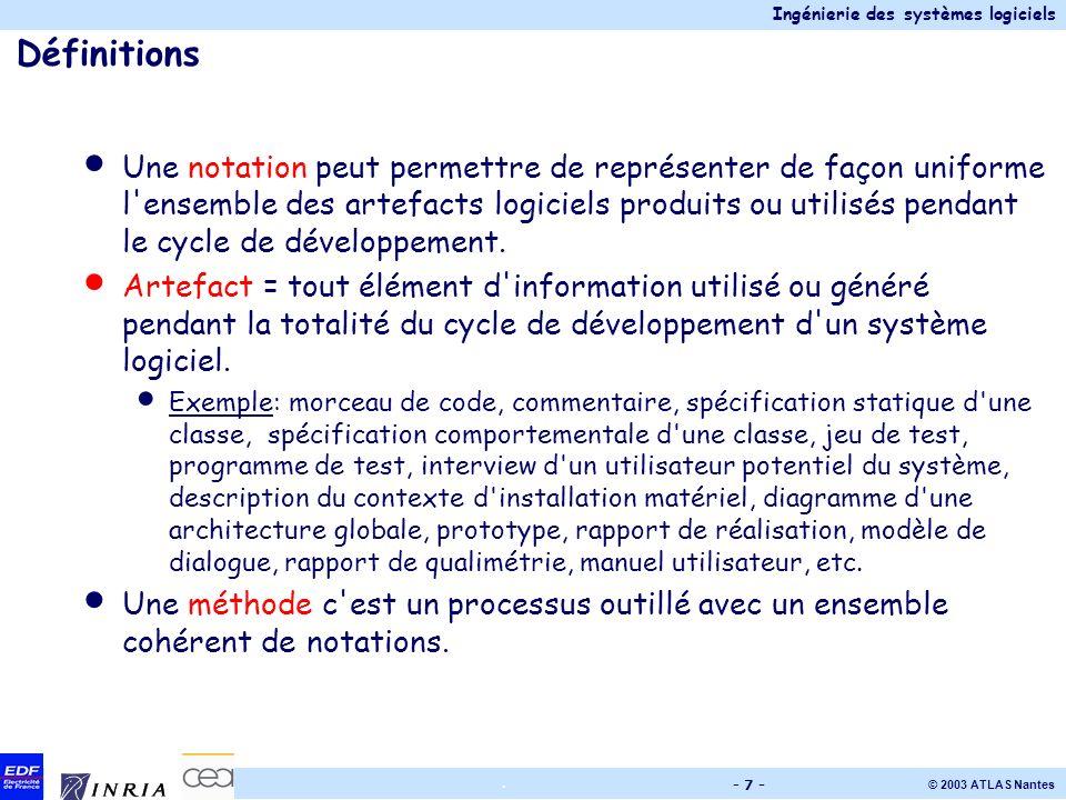 Ingénierie des systèmes logiciels © 2003 ATLAS Nantes. - 7 - Définitions Une notation peut permettre de représenter de façon uniforme l'ensemble des a
