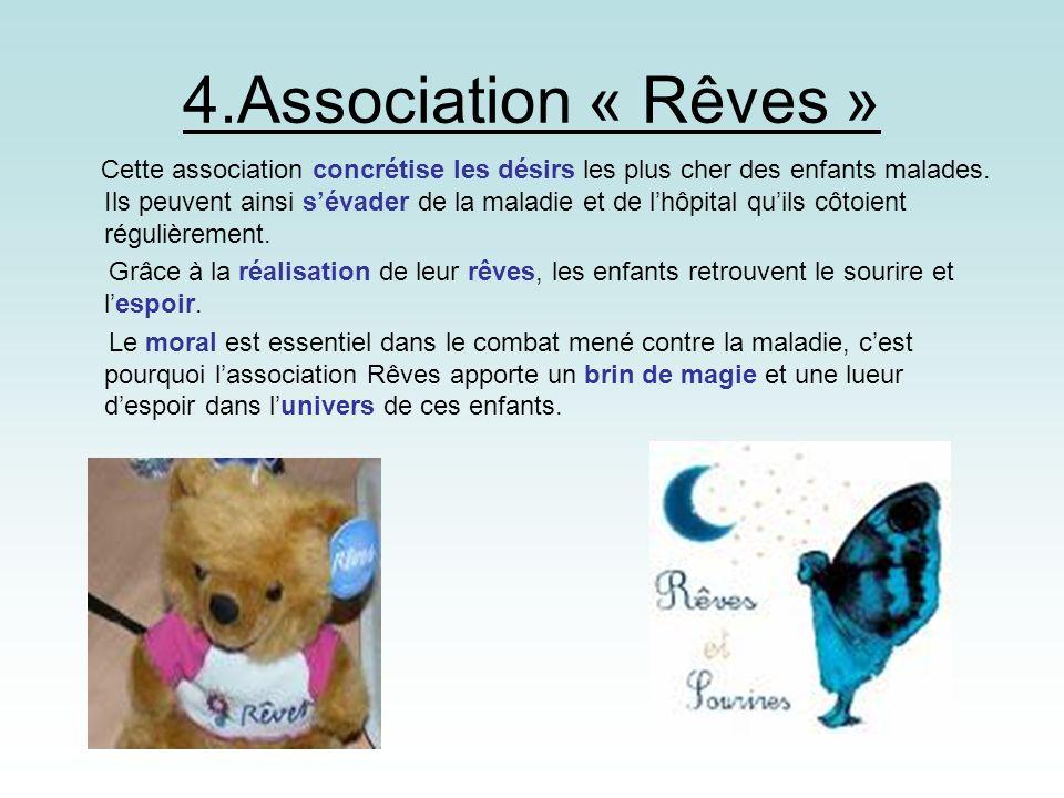 4.Association « Rêves » Cette association concrétise les désirs les plus cher des enfants malades. Ils peuvent ainsi sévader de la maladie et de lhôpi