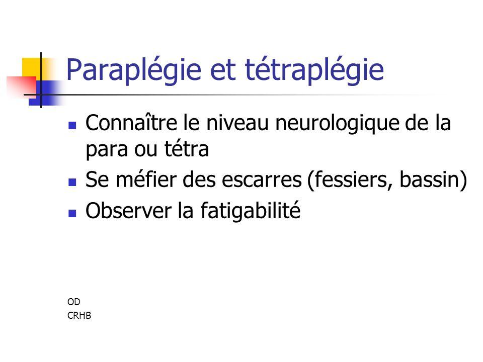 Paraplégie et tétraplégie Connaître le niveau neurologique de la para ou tétra Se méfier des escarres (fessiers, bassin) Observer la fatigabilité OD CRHB