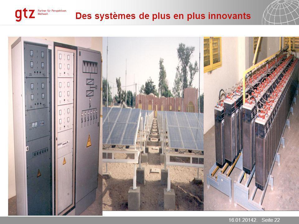 16.01.2014 Seite 22 Seite 2216.01.20142. März 2007 Des systèmes de plus en plus innovants