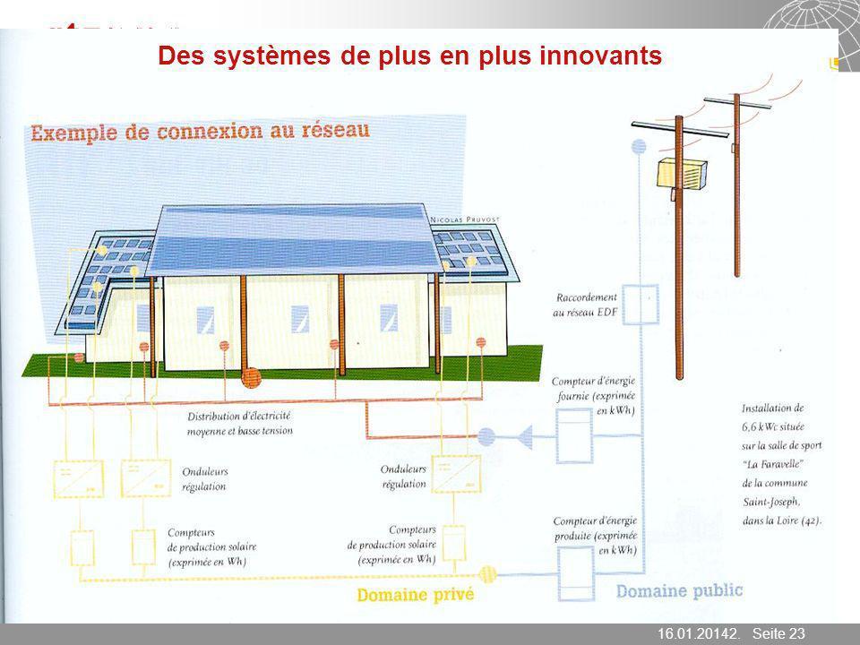 16.01.2014 Seite 23 Seite 2316.01.20142. März 2007 Des systèmes de plus en plus innovants