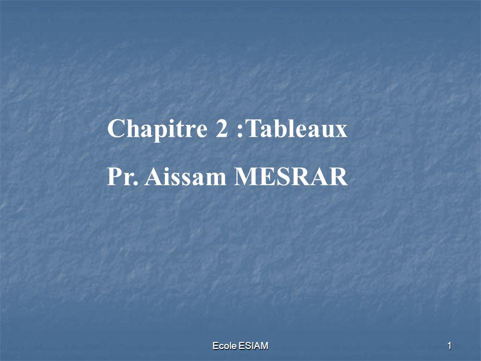 Ecole ESIAM1 Chapitre 2 :Tableaux Pr. Aissam MESRAR