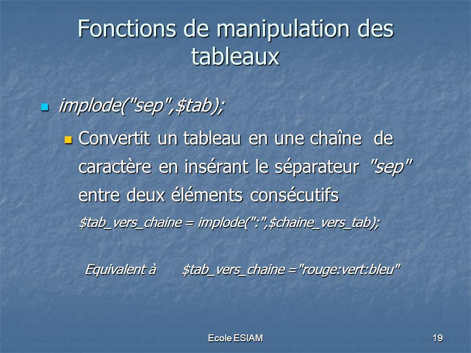 Ecole ESIAM19 Fonctions de manipulation des tableaux implode(