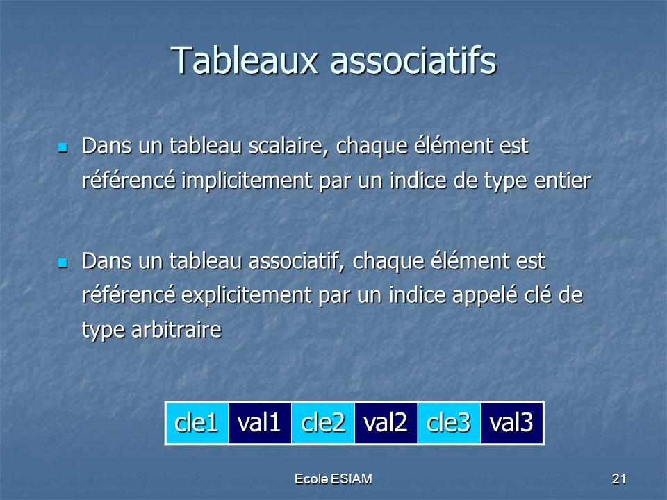 Ecole ESIAM21 Tableaux associatifs Dans un tableau scalaire, chaque élément est référencé implicitement par un indice de type entier Dans un tableau s