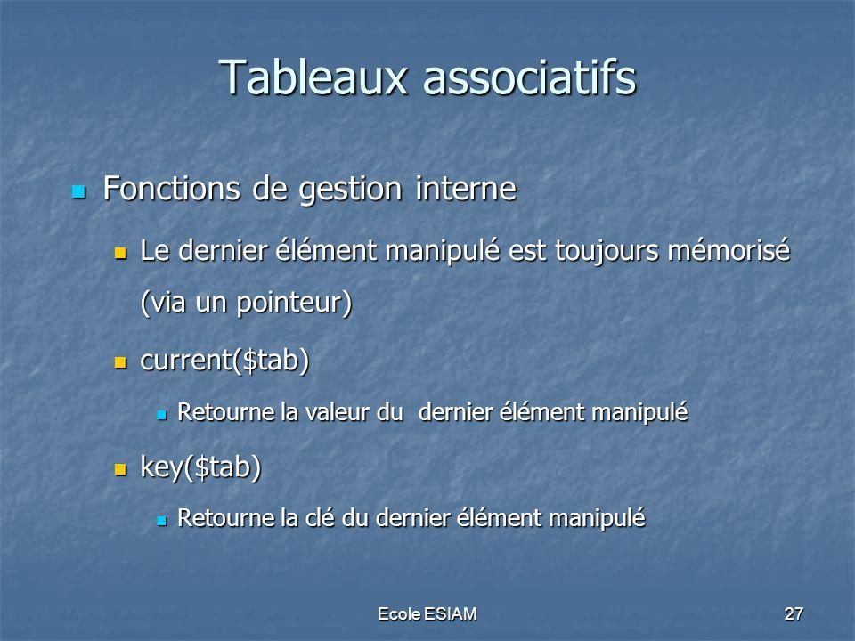 Ecole ESIAM27 Tableaux associatifs Fonctions de gestion interne Fonctions de gestion interne Le dernier élément manipulé est toujours mémorisé (via un