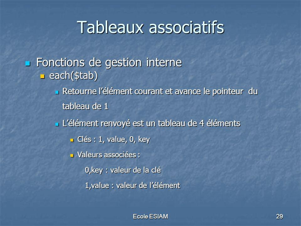 Ecole ESIAM29 Tableaux associatifs Fonctions de gestion interne Fonctions de gestion interne each($tab) each($tab) Retourne lélément courant et avance