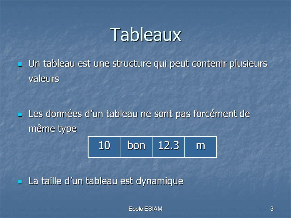 Ecole ESIAM24 Tableaux associatifs Un tableau scalaire est un cas particulier des tableaux associatifs où toutes les clés sont des entiers Un tableau scalaire est un cas particulier des tableaux associatifs où toutes les clés sont des entiers Les deux instructions sont équivalentes : Les deux instructions sont équivalentes : $tab_ass_scal = array(0 => Dupont ,1=> Michel ,2=> MSTI ); $tab_ass_scal = array(0 => Dupont ,1=> Michel ,2=> MSTI ); $tab_scal = array( Dupont , Michel , MSTI ); $tab_scal = array( Dupont , Michel , MSTI ); Vérifier avec la fonction print_r() Vérifier avec la fonction print_r()