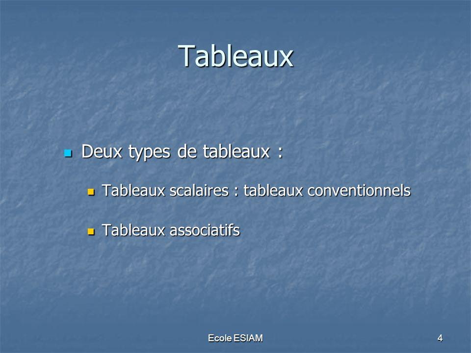 Ecole ESIAM4 Tableaux Deux types de tableaux : Deux types de tableaux : Tableaux scalaires : tableaux conventionnels Tableaux scalaires : tableaux con