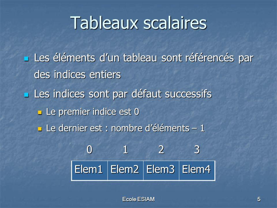 Ecole ESIAM6 Tableaux scalaires Initialisation Initialisation Un tableau est initialisé par la fonction array() Un tableau est initialisé par la fonction array() $nom_tab = array(val1,val2,val3,…); Exemple : Exemple :$couleurs=array( rouge , vert , bleu ); Affichage dun tableau Affichage dun tableau Le tableau peut être affiché en entier par la fonction print_r () print_r($nom_tab); Le tableau peut être affiché en entier par la fonction print_r () print_r($nom_tab);