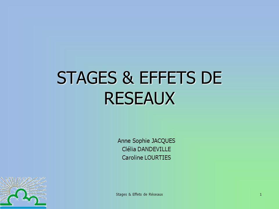 Stages & Effets de Réseaux1 STAGES & EFFETS DE RESEAUX Anne Sophie JACQUES Clélia DANDEVILLE Caroline LOURTIES
