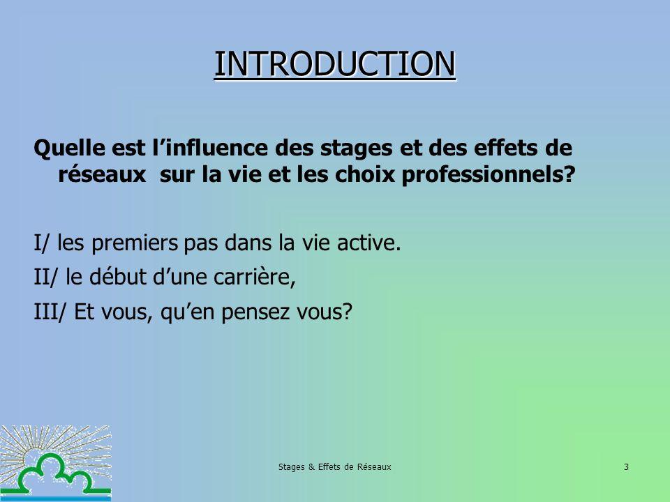 Stages & Effets de Réseaux3 INTRODUCTION Quelle est linfluence des stages et des effets de réseaux sur la vie et les choix professionnels? I/ les prem